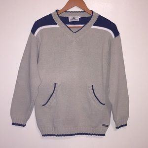 Fisherman Out Of Ireland V Neck Pockets Sweater Sm